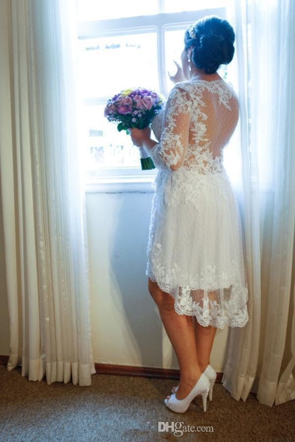 2016 Plus Size Wedding Dresses Tea Length Short Lace Bridal Gowns V Neck Long Sleeves Applique 2016 Custom Made Formal Dress New Arrival