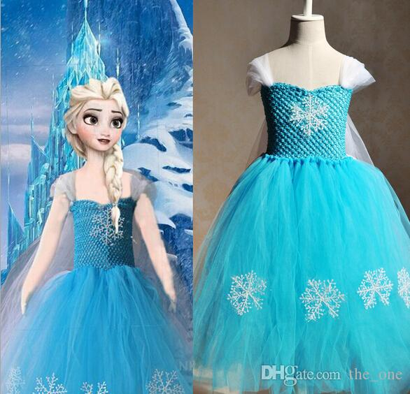 d2ce475336 elsa frozen tutu dress snowflake fancy princess fluffy dress handmade tulle  dresses for kids frozen party