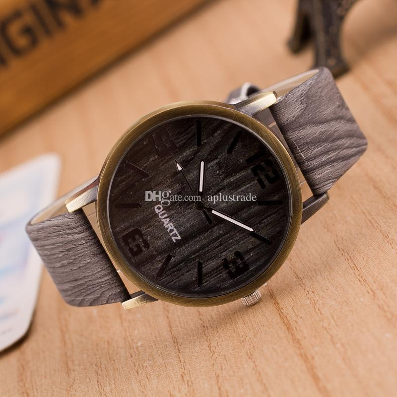 2015 simple style Wood grain leather quartz watch wome dress wristwatches men casual watch