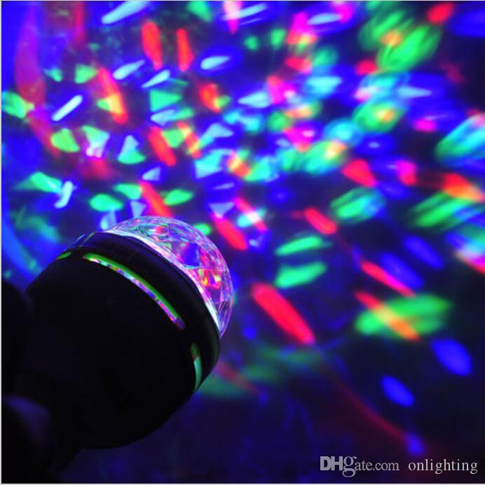 Coolorful 3W Rotating RGB LED Stage Crystal Magic Light Bulb Lamp Disco Party DJ G792 G332 G82 with retail package box