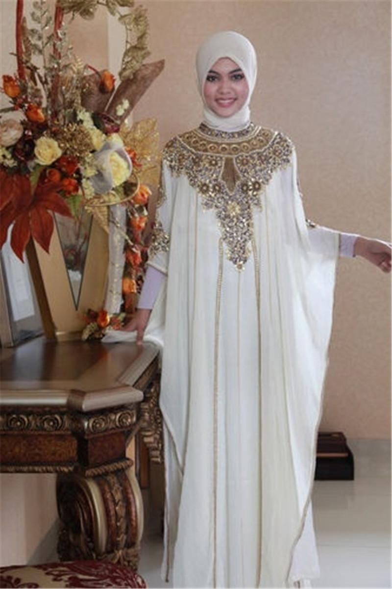 Dubai Muslim Wedding Dresses Gold Lace Applique Beads Long Sleeve ...