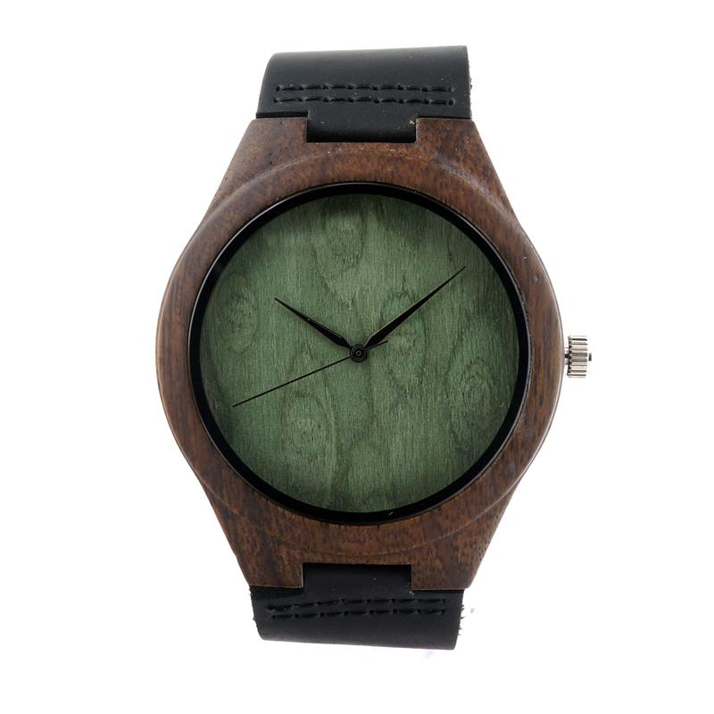El más nuevo reloj de madera de ébano japonés miyota 2035 movimiento relojes de pulsera de cuero genuino relojes de madera para hombres mujeres