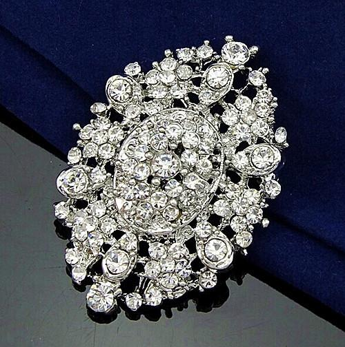 Wholesale 2.4 Inch Vintage Look Rhodium Silver/Gold Plated Flower Brooch with Clear Rhinestone Crystals