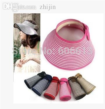 f956a5fbb9f 2019 Wholesale Summer Striped Roll Up Wide Brim Sun Visor Hat Foldable  Women Beach Straw Hat From Zhijin