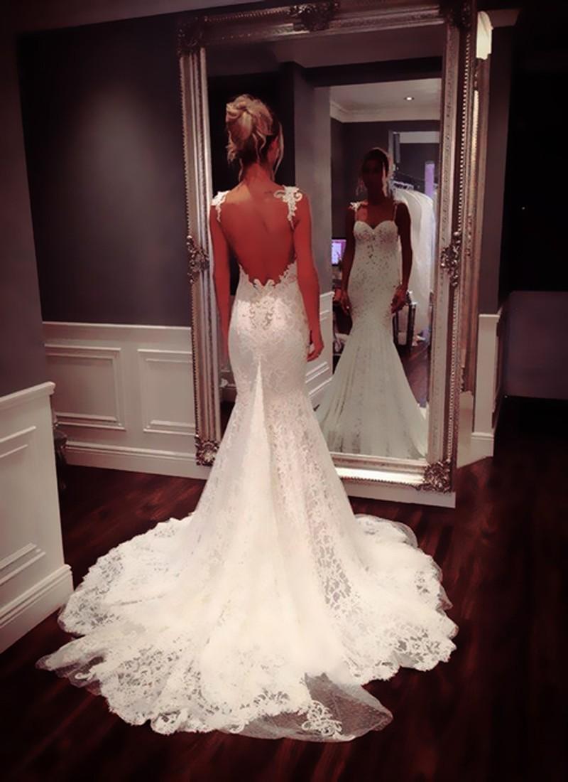 Nya Sexiga Backless Lace Mermaid Bröllopsklänningar 2015 Sweetheart Golvlängd Tank Appliqued Backless Bröllopsklänningar Brudklänningar