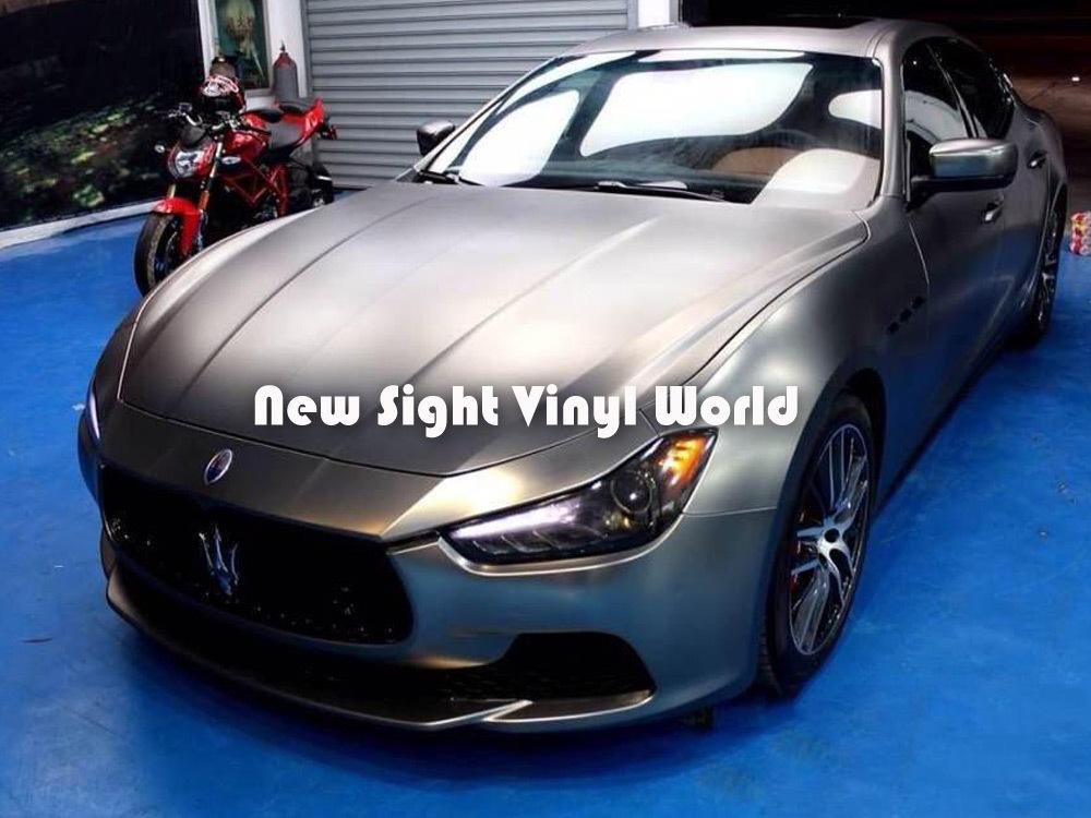 Premium Matte Satin Metallic Grey Vinyl Film Satin Metal Grey Wrap