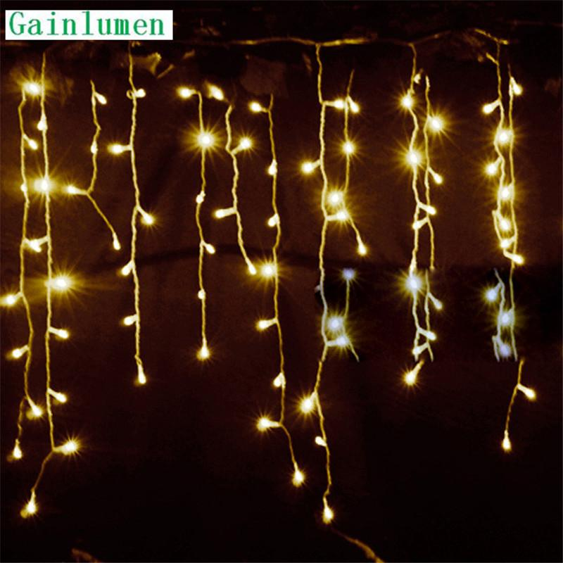 string lights christmas outdoor decoration drop 45m droop 03m 04m05m curtain icicle string led lights garden party 220v outdoor xmas decorations