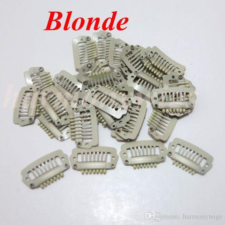 Extensão do cabelo clipes de pressão 2.3 cm 7 dentes de aço inoxidável para grampo extensões de cabelo humano trama 6 cores