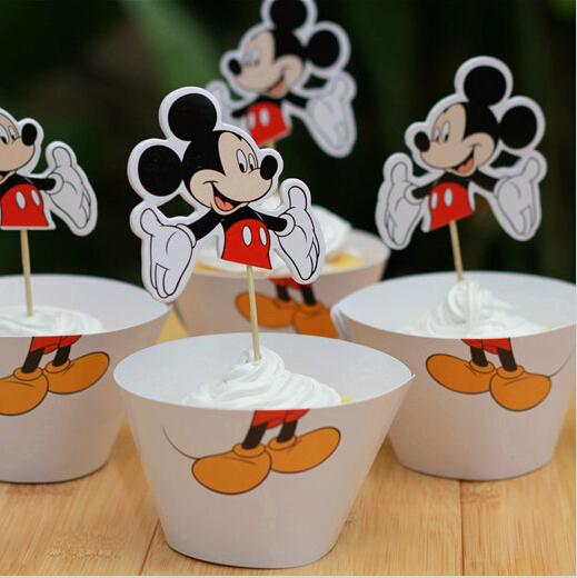 Cute Mouse Paper Cupcake Wrappers Decorating Boxes Baking Cups Package With Toppers Picks For Kids Xmas Birthday Party Decoration