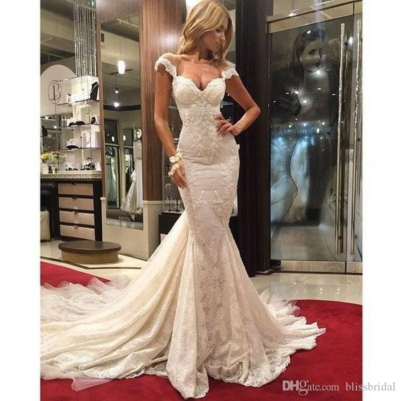 Luxury Court Train Capped Sleeves Backless Lace Wedding Dresses Mermaid 2016 Bridal Gowns Custom made Wedding Gowns