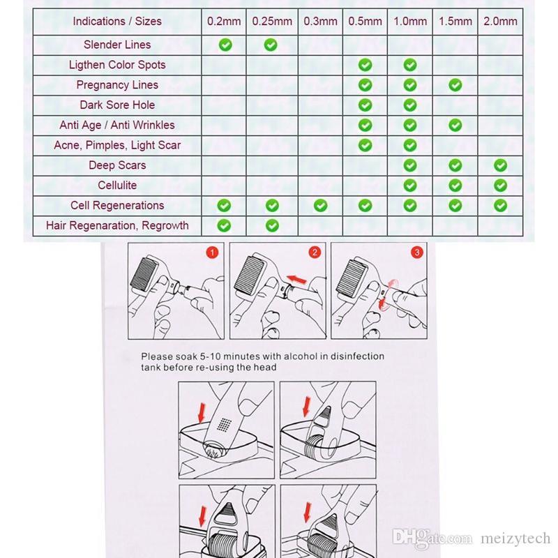 Nuevo 5 en 1 Titanium Derma Roller Microneedle Therapy Massager Skin Tighten Care Rejuvenecimiento Anti arrugas Envejecimiento Spots Uso doméstico portátil