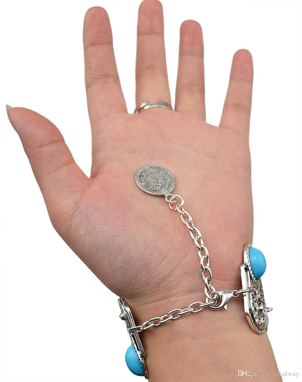 سلسلة البوهيمي ريترو بوهو بالفضة البطانة الأزرق الراتنج الخرز قلادة كوين اليد حلقة سوار للنساء