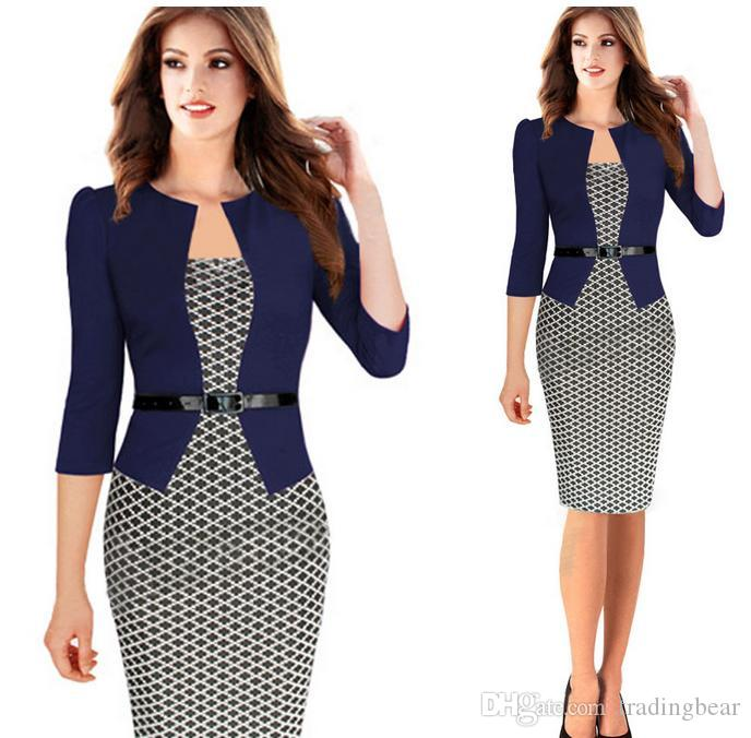 Newest Plaid Design Fasle Two Pieces With Belt Women Work Dress Plus ...