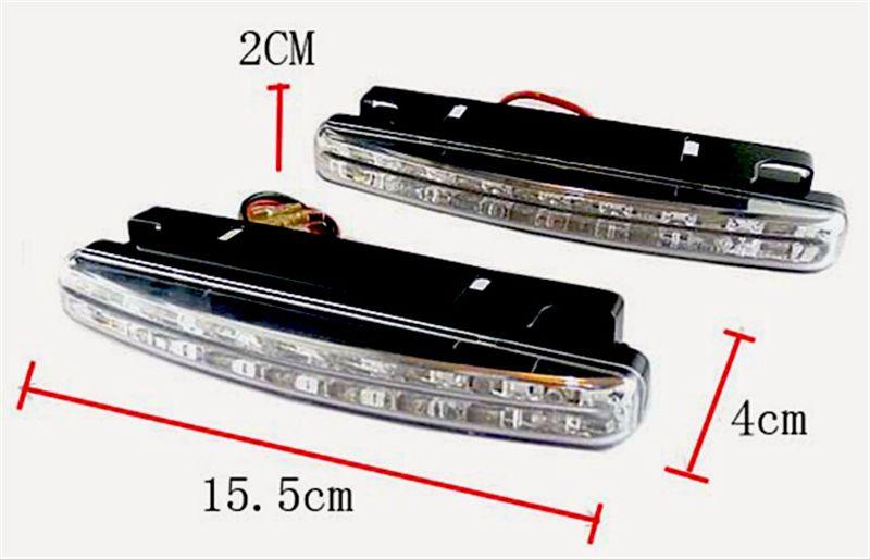 Vendita calda 8 Led Universal Car Light DRL DRL GRATUITA Lampada Testata Super Bianco / Spedizione gratuita