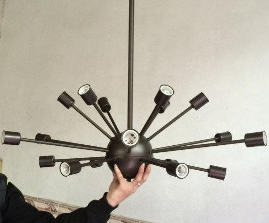 Vintage large sputnik chandelier 18 lights lobby hanging stick mid see larger image mozeypictures Image collections