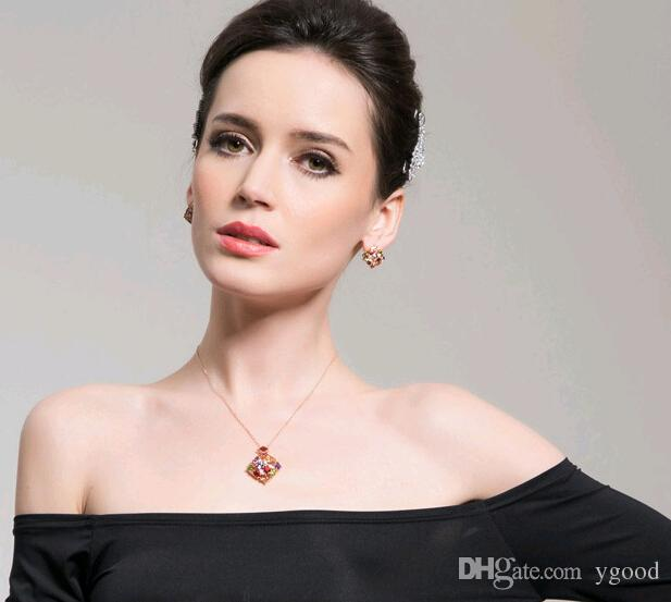 2015 Moda mulheres colares jóias Mona Lisa Estilo Multi-colorido diamante de Zircão Pingente de Cristal Colares com corrente de XMAS presente # 607