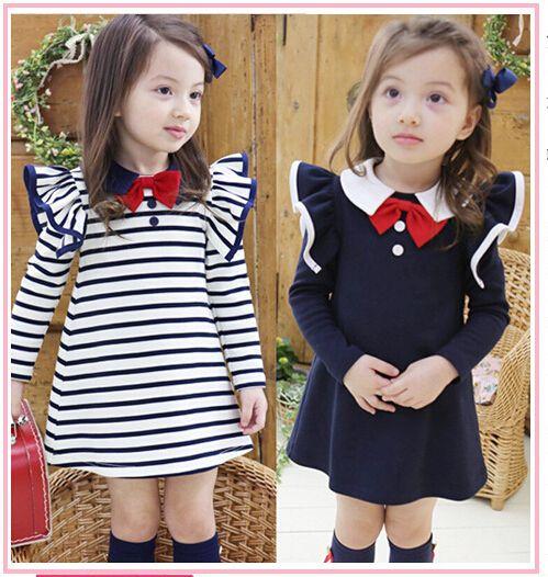 2aba17c385b8 Free DHL Korean Kids Dress Girls Lapel School Uniforms Dress ...