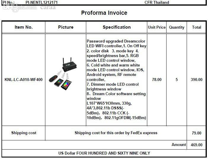 Großhandel Wholesale Proforma Rechnung Pi Nentl1212171 Für Thailand
