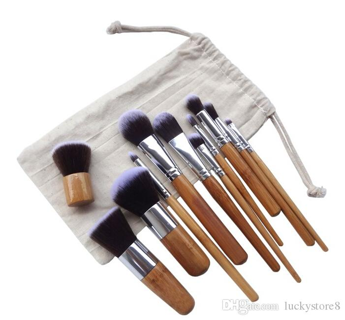 Профессиональные кисти 11 шт./лот бамбуковой ручкой кисти для макияжа, 11 шт. макияж кисти набор косметики кисти наборы инструментов