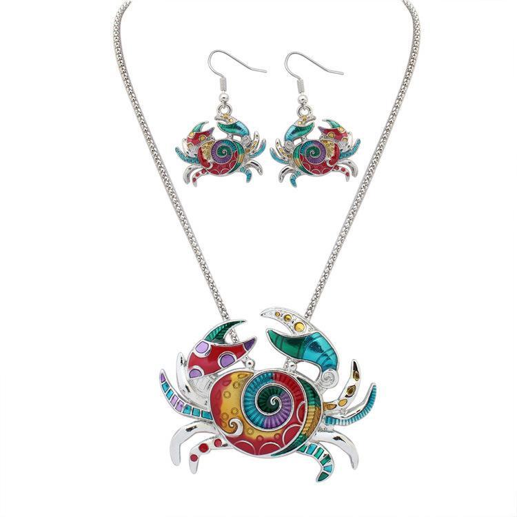 Europäische lebensechte Art und Weise 18KGP / 925 silberne lebensechte Rainbowful Krabbenschmucksachen gesetzte Legierungshalsketten-Ohrringzusätze für Frauen