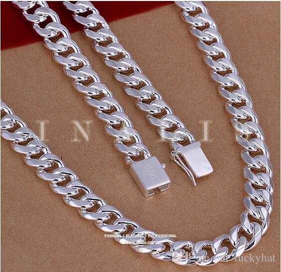 الفضة رجل سلاسل فيجارو سحر ساحة الفضة مشبك سلاسل 10MM24''925 فضة فضة قلادة الرجال قصيرة قلادة المجوهرات سفينة حر