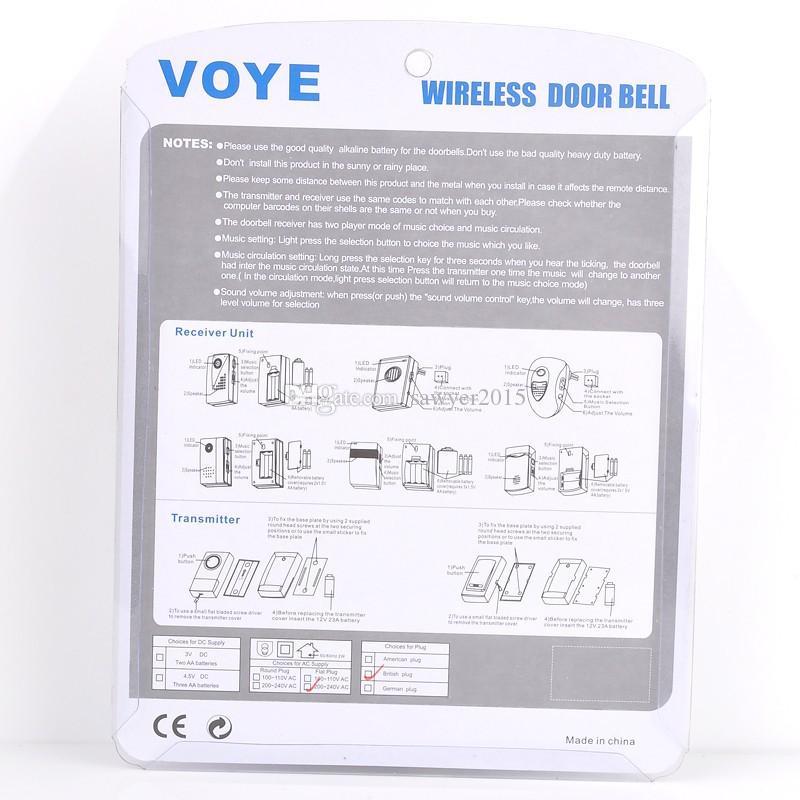 V003B Timbre Digital Inalámbrico Casa Seguridad Timbre Inalámbrico Control Remoto Hogar 1Receptor 38 Alarma de Puerta Tune