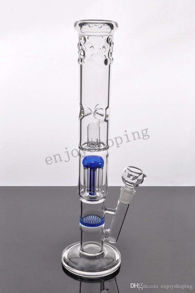 New Arrival Straight Glass Bongs Arm Tree Perc and Blue Honeycomb Percolator Thick Glass Pipe Water Pipe with 18mm joint