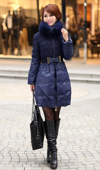6dd4f3301 Occident Fashion Women Down Coats Thickening Slim long Down Coats Lovely  Princess Style With Fox fur Collar Women Outwear Coats