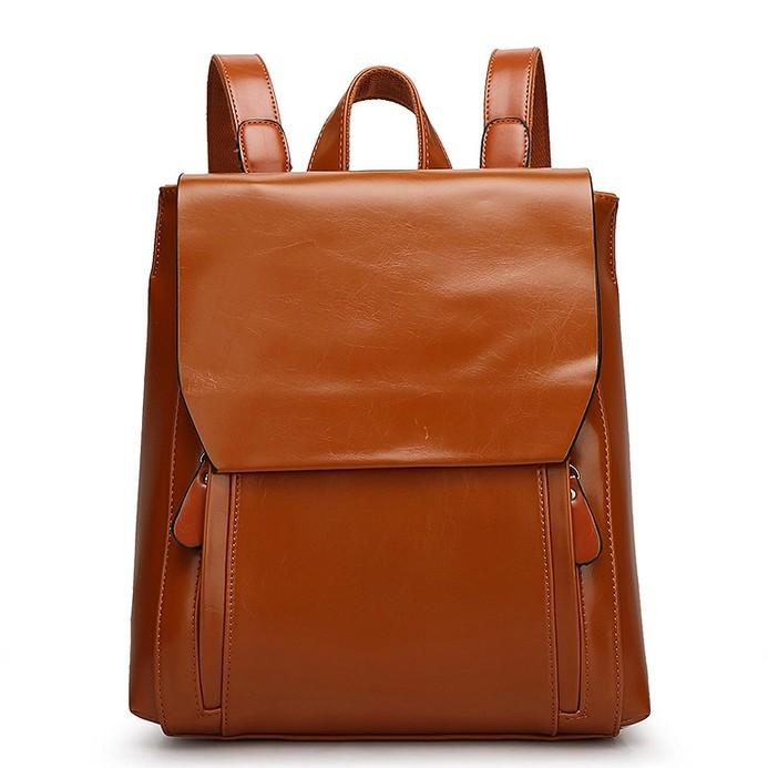 Fashion Women Brown Leather Backpack Real Genuine Leather Backpack ...