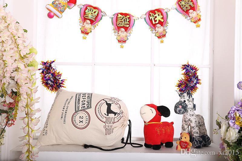 무료 배송 산타 자루 캔버스 산타 자루 크리스마스 자루 선물 가방 3 스타일 빠른 배달