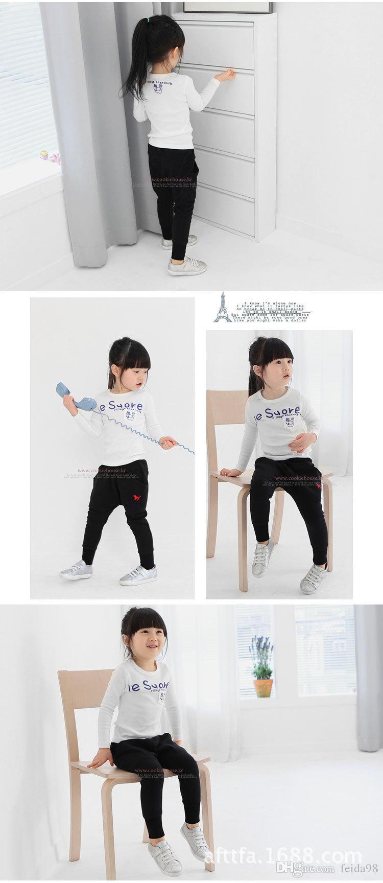 All'ingrosso -2016 nuova versione coreana di primavera e autunno abbigliamento bambini casuali harem pantaloni cucciolo ricamo pantaloni lunghi