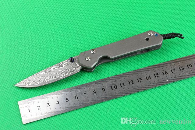 Damla Nakliye CR Sebenza Küçük Katlama Bıçak Şam Çelik Bıçak TC4 Titanyum Alaşım Çerçeve Kilit EDC Cep Bıçaklar