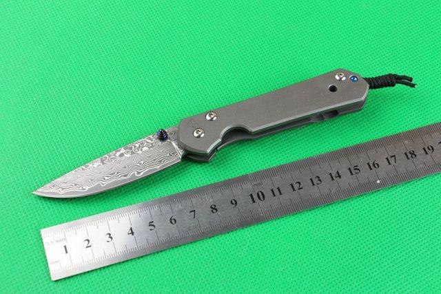 Telaio Drop Shipping CR Sebenza Piccolo coltello pieghevole di Damasco Steel Blade TC4 lega in titanio blocco EDC coltelli da tasca