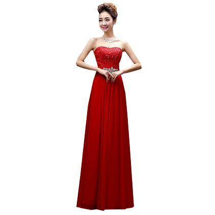 Women Fomal Red Embellished Summer Prom Dress 2017 Chiffon Gown ...