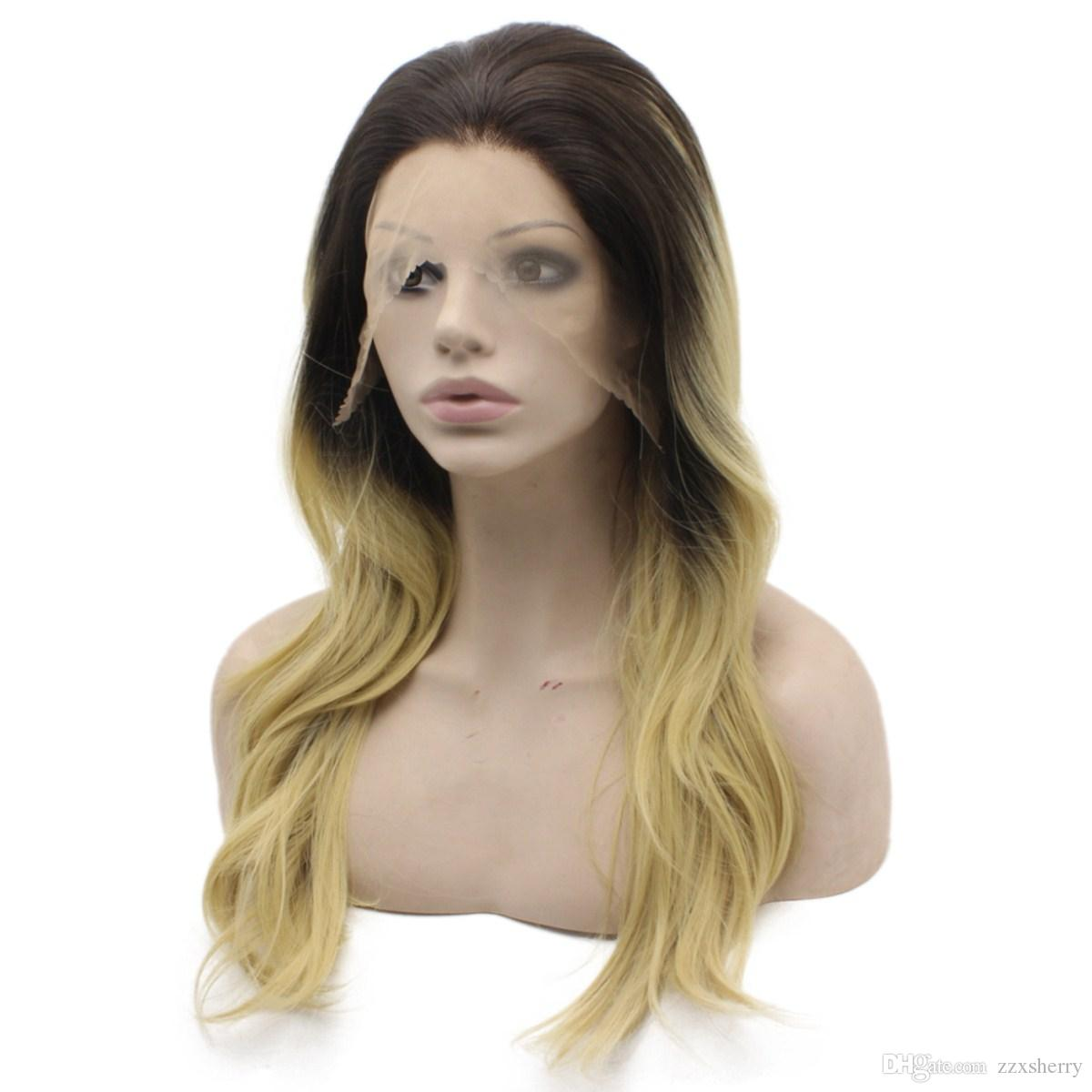 Lange gewellte Ombre Blonde Glueless Lace Front synthetische Perücke