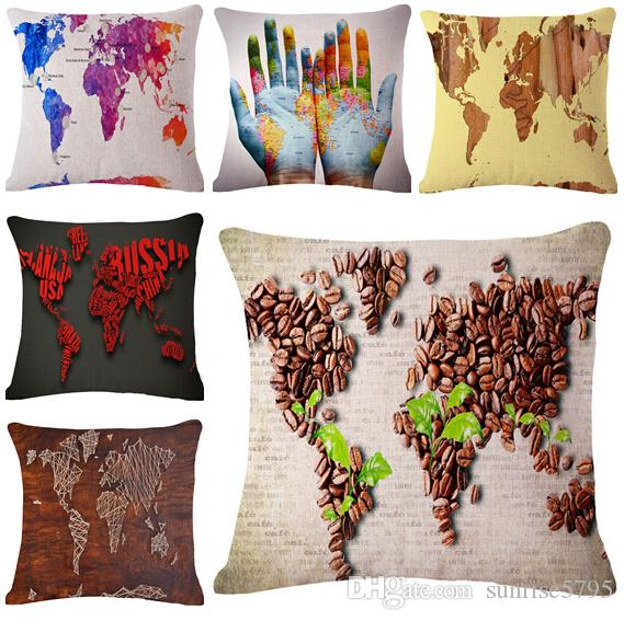 Colorful World Map Cushion Cover Shabby Chic Throw Pillow Case