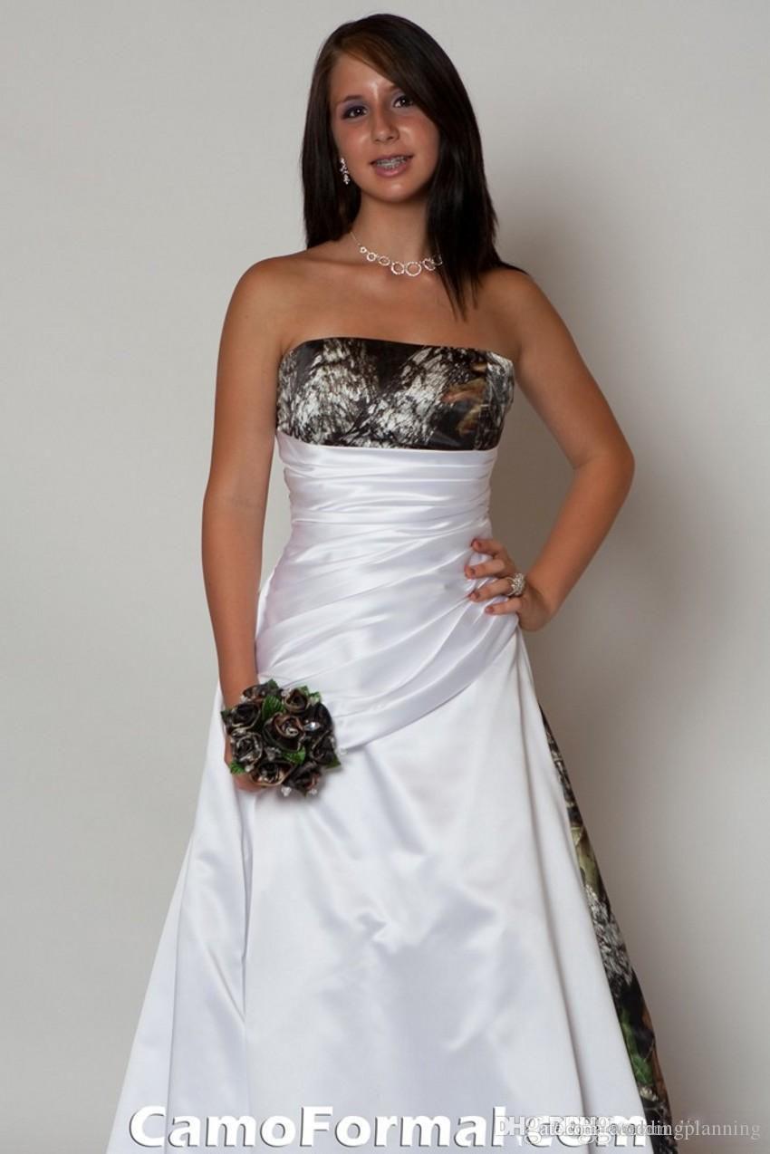2016 nouvelle arrivée robe de mariée sans bretelles avec plis taille empire une ligne balayage train realtree camouflage robes de mariée
