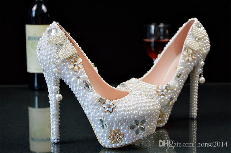 New Wedding Ultra high heel Platform Crystals Shoes Aesthetic Crystal Pearl Bridal Shoes Diamond Lady Shoes Wedding Party