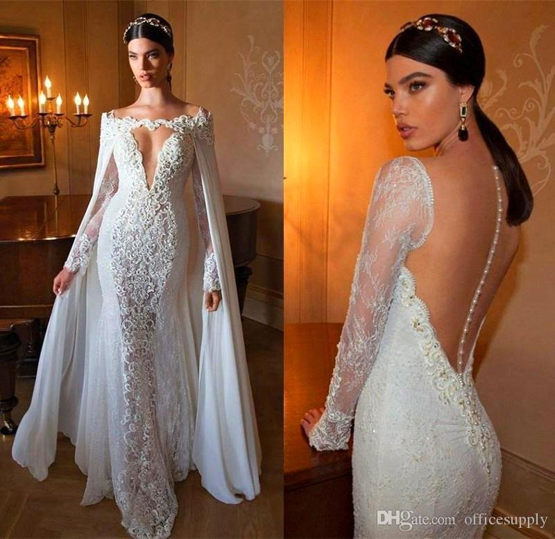 Discount Eugenia Couture 2018 Stunning Lace Wedding Dresses With Half  Sleeves V Neck Illusion Appliqued Bodice Sweep Train Bridal Gowns  Weddingdresses White ... 05672aa03977