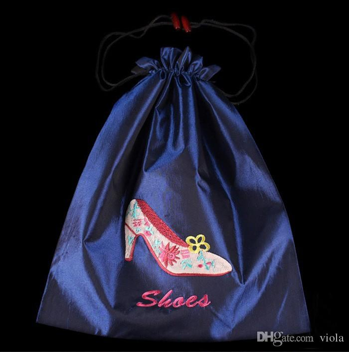 Pretty Women Travel Shoes Case Cover wholesale Silk Embroidered Drawstring Dust Bags with Lined Mix Color 14.5*11inch free