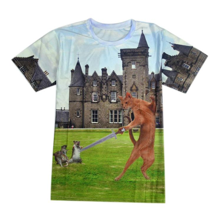 e87396b98d FG1509 Dropshipping 2015 Summer Men S Funny 3D Castle T Shirt Galaxy Cat  With Sword Print Brand Design Plus Size T Shirt Really Cool T Shirts Online  ...