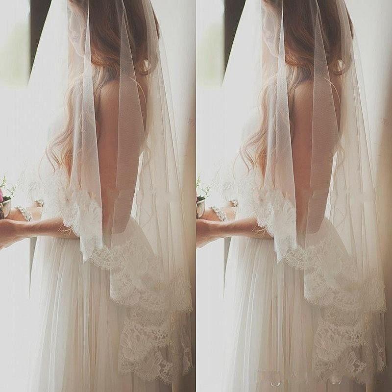 2019 романтические дешевые свадебные вуали один слой длина пальца длина свадьбы с кружевным краем белые слоновые вуали для невесты бесплатная доставка новый стиль