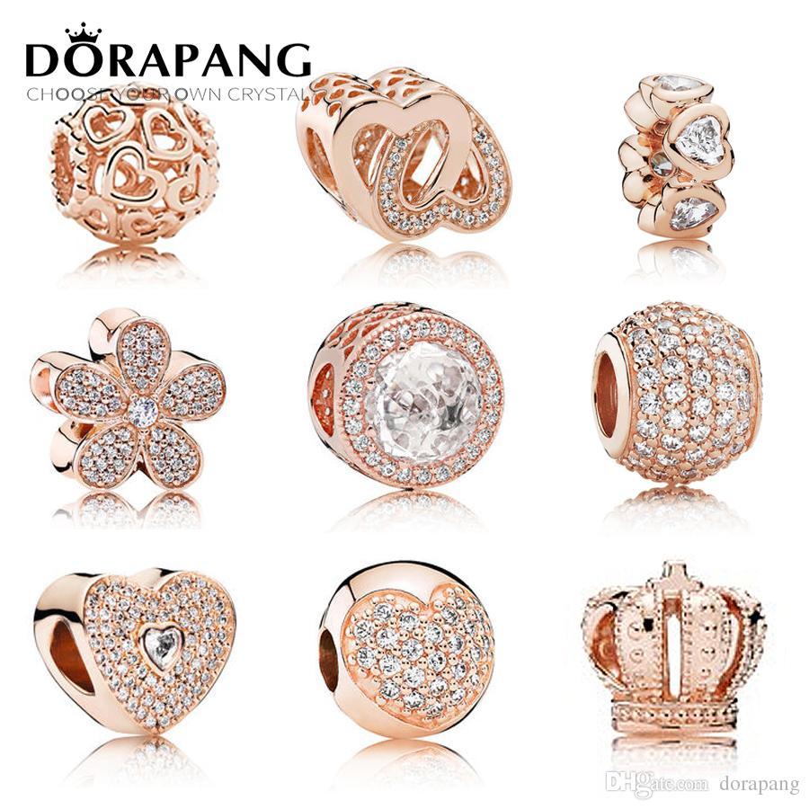 DORAPANG 100% 925 d'argento in oro rosa chiaro Pan CZ fascino tallone collocazione Bracciale fai da te fabbrica gioielli