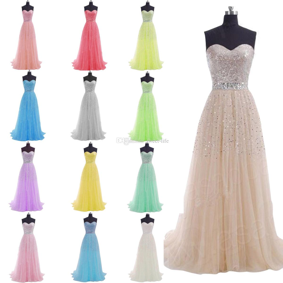 IN STOCK 2015 Cheap Long Prom Dresses Bling Sequins A Line Sweetheart Tulle Lace Up Lilac Blue Coral Party Bridesmaid Dresses Evening Gowns