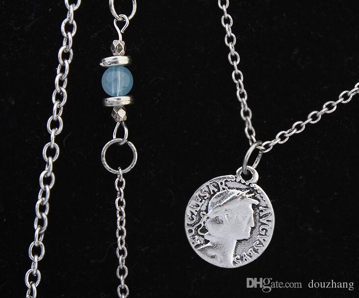 Bohemia azul resina flor hueca borla cadena collar étnico boho vintage multi capa collares para mujeres regalos