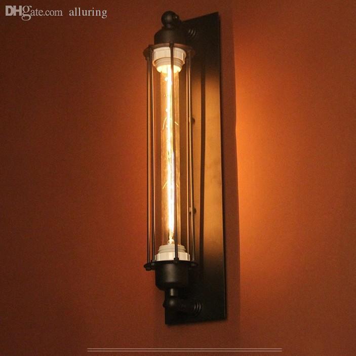 Wholesale-Vintage Edison Bulb Wall Lighting Lamp Fixture Wrought Iron Retro  Loft Creative Personality Industrial Light for restaurant