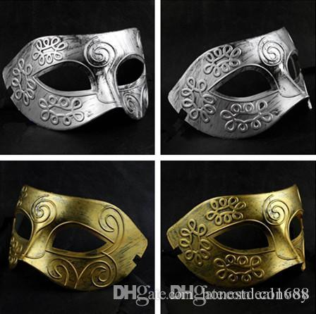 new mens halloween greece rome warrior make up mask half face masquerade grace dance party mask colors gold silver half face mask hm06 dance party mask mens