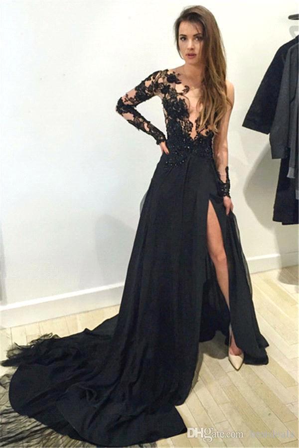 Black Floral Lace Applique Long Sleeves Split Evening Dresses 2016