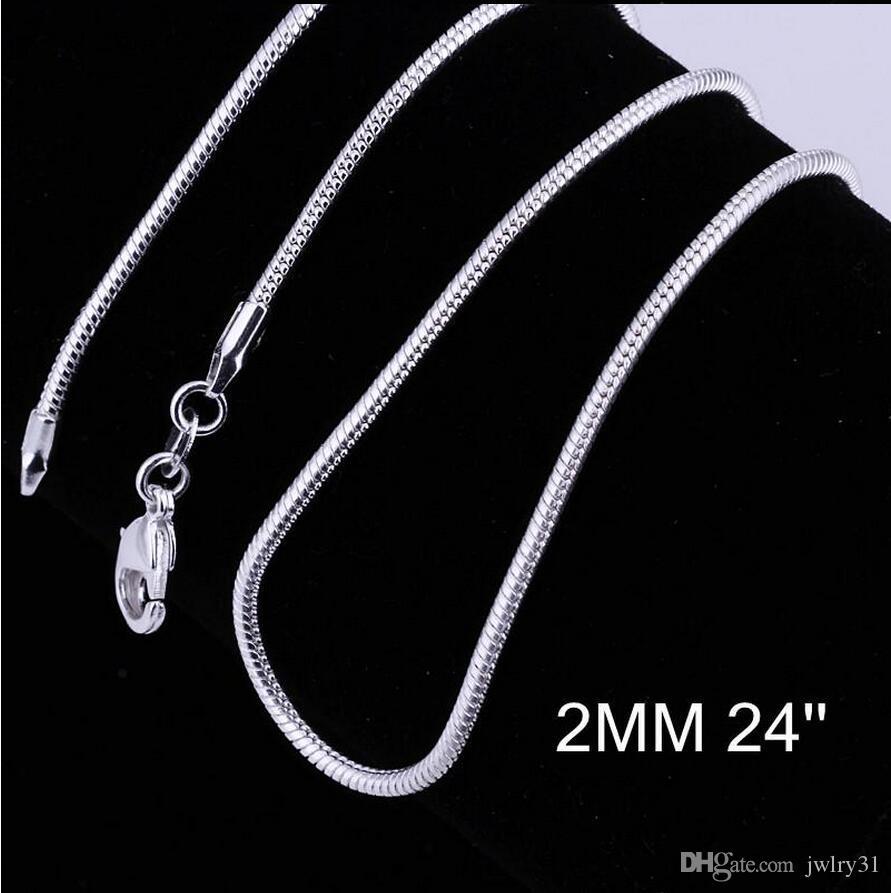 Büyük Promosyonlar! 925 Gümüş Pürüzsüz Yılan Zincir Kolye Istakoz Klipsler Zincir Takı 2mm 16-24 inç Mix Boyutu Charm Kolye takı