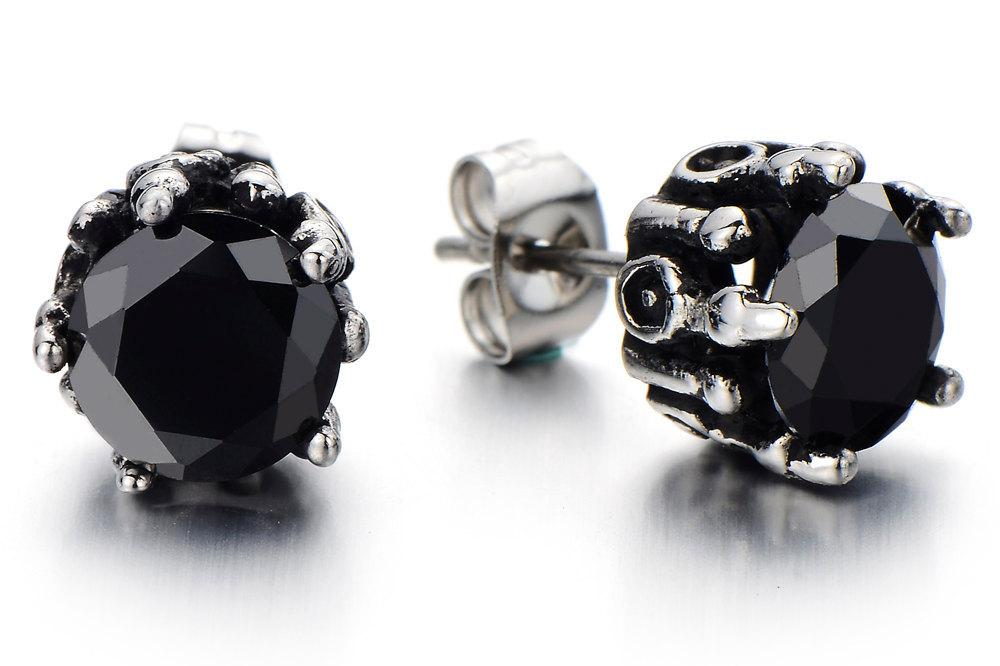 mm earrings acier mia oreilles products square stud black steel stainless cz miajwl b inoxydable boucles